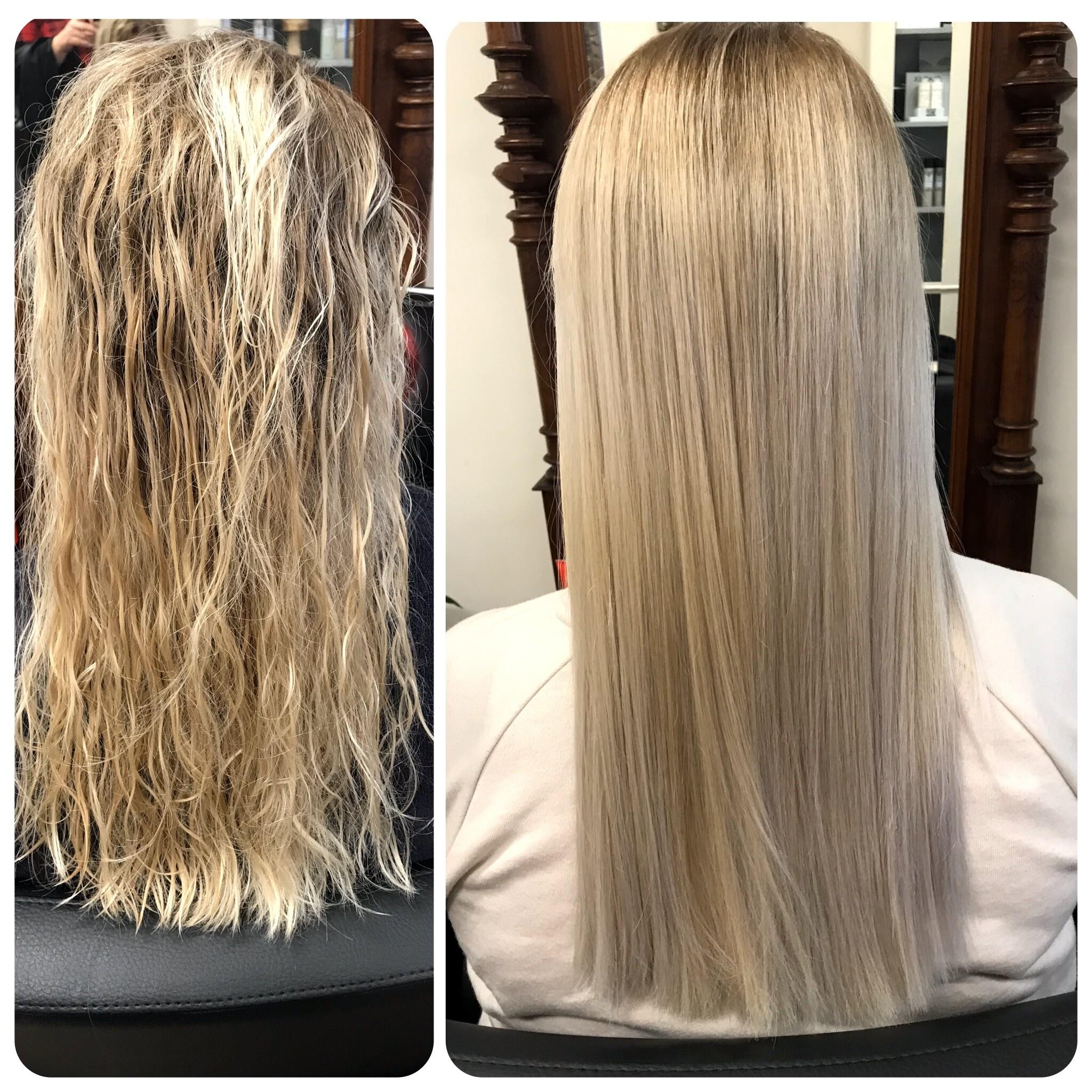 Dauerhafte Haarglättung mit NEWSHA Blond Vorher und Nachher Bild