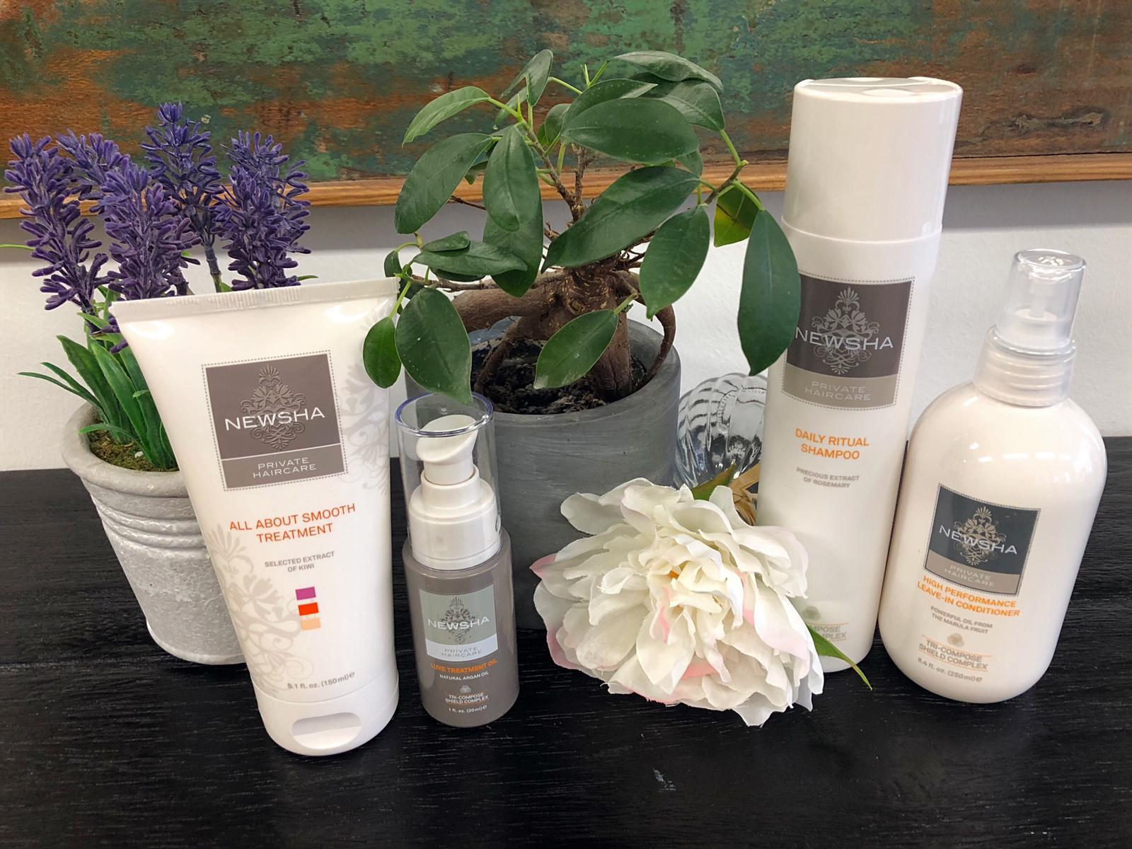 Newsha-NEWSHA Daily Ritual Shampoo-NEWSHA High Performance Leave-In Conditioner-NEWSHA All About Smooth Treatment-NEWSHA Luxe Treatment Oil